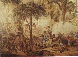Indios e Escravos sendo mortos